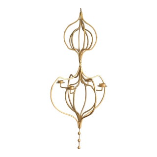 Gold Contemporary Hanging 4-Candle Candelabra For Sale