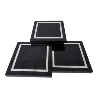 "1990s Modern Multi-HeightTessellated Stone Square ""Mushroom"" Tables - Set of 3"