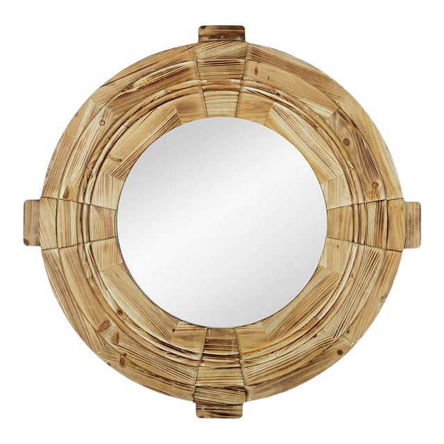 Rustic Wood Framed Round Inman Mirror For Sale