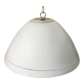 Vintage 1970s White Art Glass Dome Pendant Light For Sale