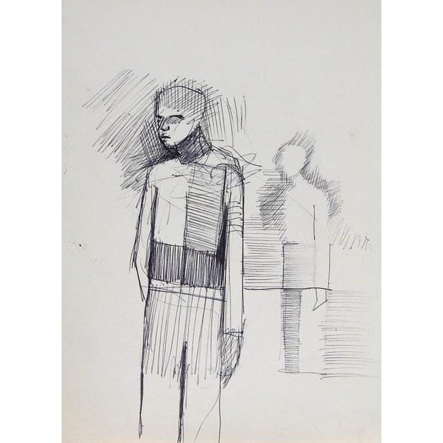 Mid-Century Modern Abstract Figure Pen & Ink Drawing For Sale - Image 3 of 3