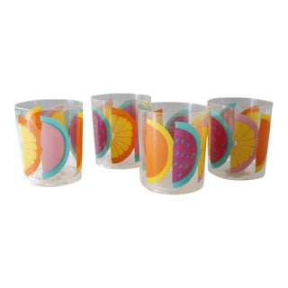 4 Fruit Drinking Glass Tumblers Acrylic Juice Glasses Selandia P. Tardif Neove For Sale