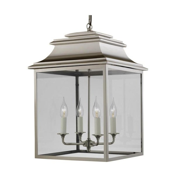 4 Candle Polished Nickel Lantern For Sale - Image 4 of 4