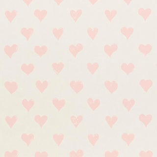 Sample - Schumacher x Molly Mahon Hearts Wallpaper in Pink For Sale
