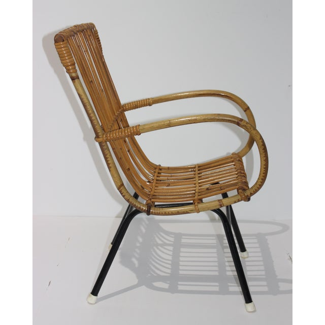1950s Mid-Century Modern Franco Albini Style Child's Chair Bamboo and Rattan For Sale - Image 5 of 13