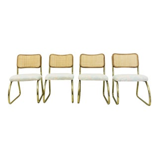 Set Vintage Cane Back & Brass Cantilever Chairs
