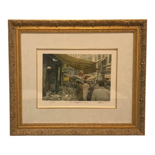 """1980s """"Rue Mouffetard 1984 I"""" Figurative Lithograph by Harold Altman, Framed For Sale"""