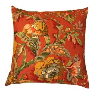 Pottery Barn Burnt Orange Floral Pillow For Sale