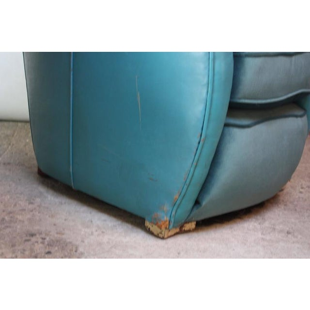 Scandinavian Deco Club Chairs in Blue Leather and Velvet - Image 9 of 11