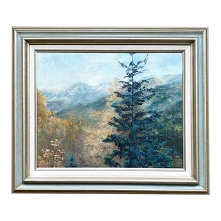 """Framed Landscape Oil on Canvas Painting Titled """"Ouray"""" - Shirley Petersen 1981 For Sale"""
