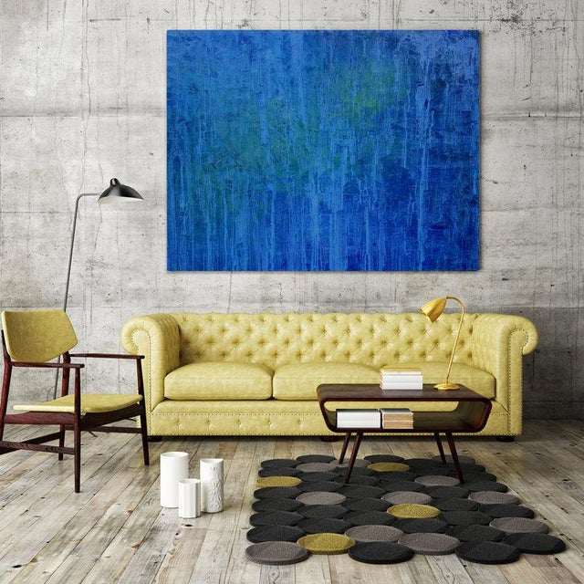 Abstract oil painting; Gallery-wrapped canvas sides painted silver. Ready to hang. Framing optional. Signed and dated by...