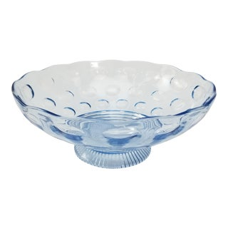 Imperial Glass Blue Pedestal Bowl - Old English Pattern - Compote Bowl For Sale