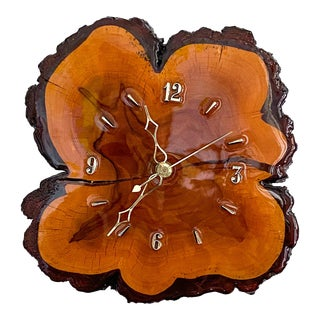 1960s Mid Century Cypress Live Edge Wood Wall Clock For Sale