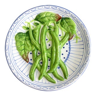 Vintage Decorative Blue & White Plate With Carved Green Beans