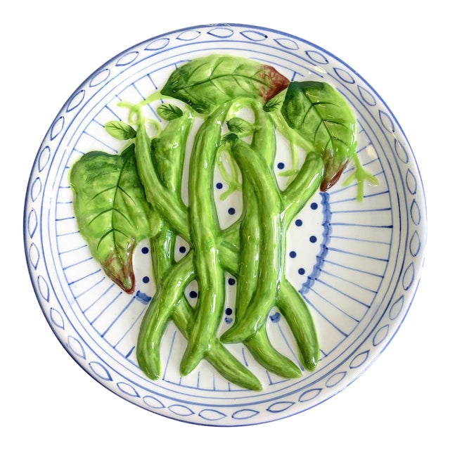 Vintage Decorative Blue & White Plate With Carved Green Beans - Image 1 of 6