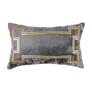 Aria Pewter Velvet Lumbar Pillow With Gold Foil Accents