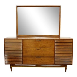 Mid Century Modern American of Martinsville Dania Gershun Walnut Dresser Mirror For Sale