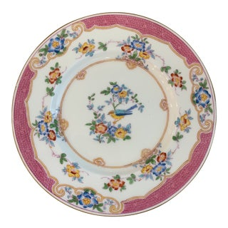 Antique English Mintons Pink and Blue Bird Plates - Set of 10 For Sale