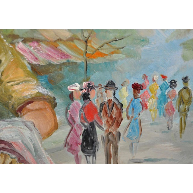 American Woman in Europe Oil Painting c.1950s For Sale In San Francisco - Image 6 of 9