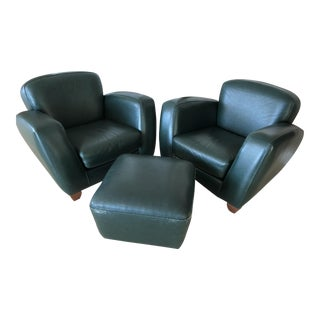 Modern Roche Bobois Leather Chairs and Ottoman- 3 Pieces For Sale