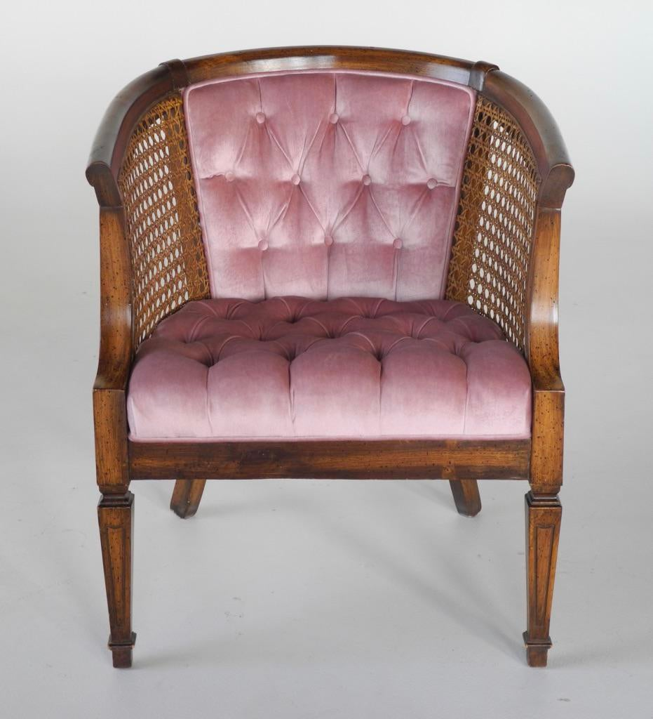 French Provincial Tufted Cane Barrel Chair   Image 4 Of 7