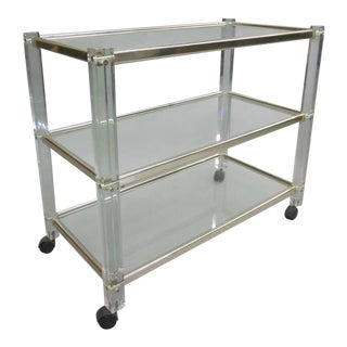 French 1970s Plexiglass Bar or Dessert Cart For Sale