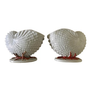 Antique Copland Nautilus and Coral Vases or Spoon Warmers - a Pair For Sale