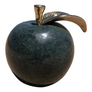 Vintage Green Marble Apple W/ Oversized Bright Brass Leaf For Sale