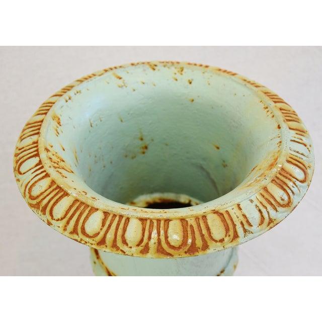 Blue Vintage Teal/Blue Cast Iron Urn Planters - Pair For Sale - Image 8 of 11