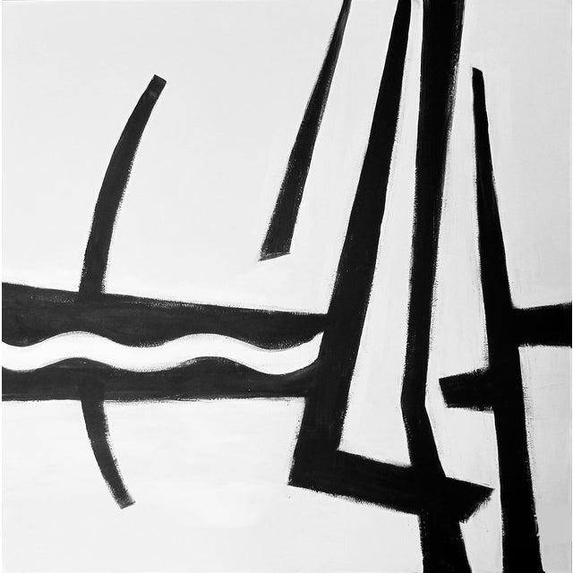 "Kathi Blinn ""Cruisin'"" Contemporary Black and White Acrylic Painting For Sale"