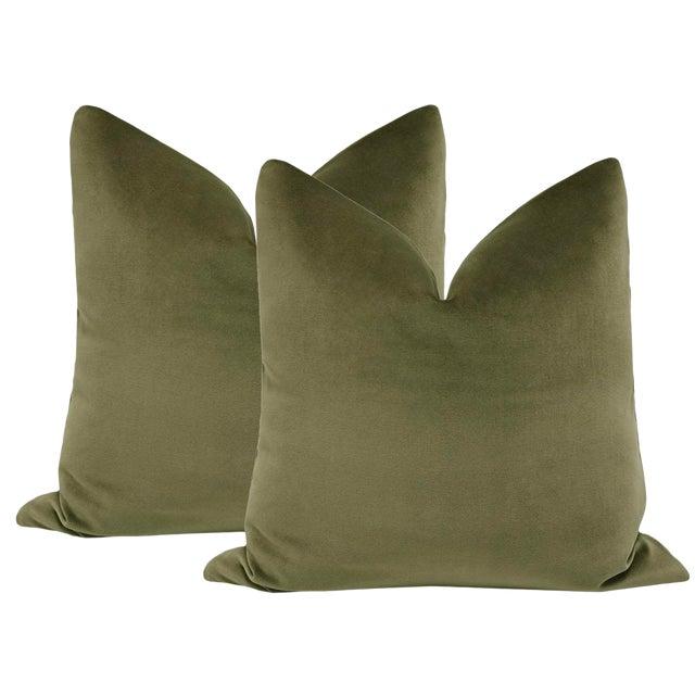 "22"" Bayleaf Velvet Pillows - a Pair For Sale"
