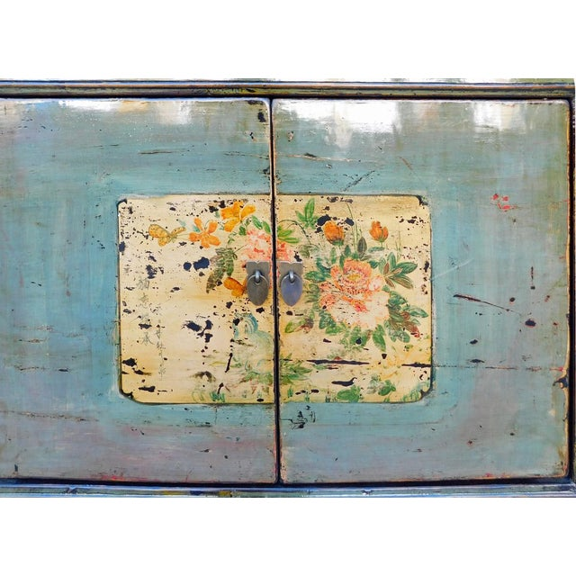 Chinese Floral Cabinet in Crackle Blue-Gray For Sale - Image 7 of 8