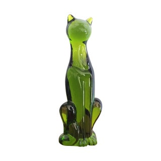 Rare Green Viking Glass Cat