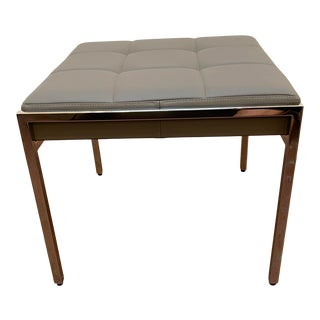 """Mid-Century Modern Bolier for Decca Contract Grey Leather With Polished Stainless Steel Frame """"Ethos"""" Square Ottoman For Sale"""