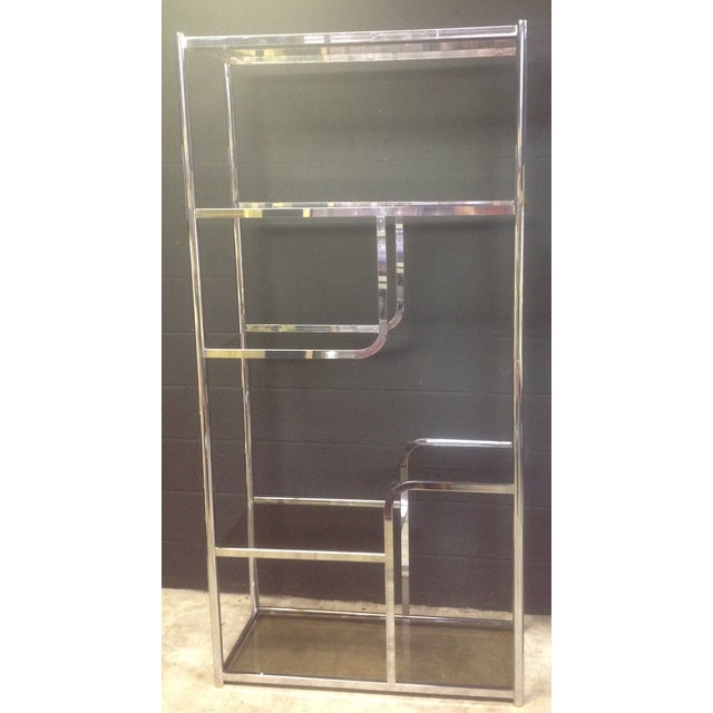 Chrome And Smoked Glass Etagere - Pair - Image 5 of 7