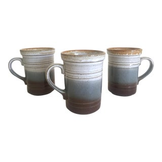 Vintage Mid Century Ashdale Pottery England Ombre Stripe Drip Glaze Stoneware Ceramic Mugs - Set of 3 For Sale