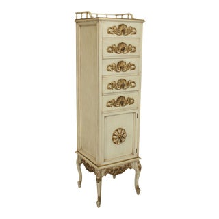 French Louis XV Style Vintage Custom Quality Cream Painted & Gilt Lingerie Chest For Sale