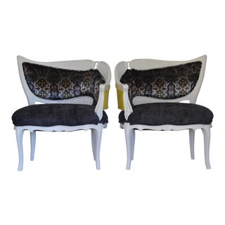 Hollywood Regency Asymmetrical Velvet & Cane Chairs - a Pair