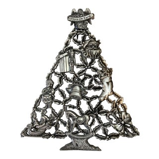 Silver-Plate Christmas Tree Trivet For Sale