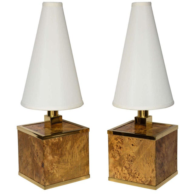 Burlwood and Brass Lamps Attributed to Romeo Rega For Sale - Image 11 of 11