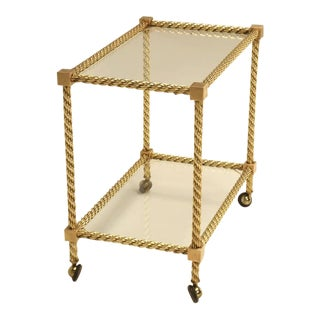French Mid-Century Modern Brass Tea Cart For Sale