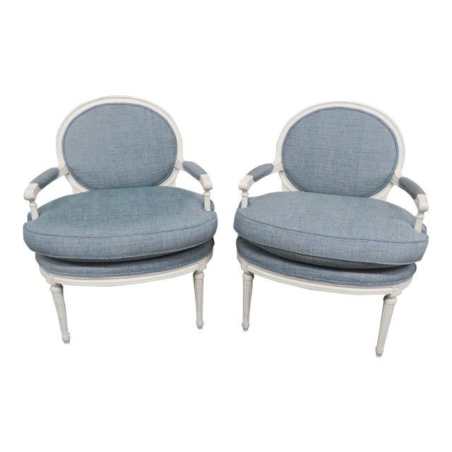 Louis XVI Style Armchairs - a Pair For Sale