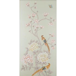 """Chatsworth House"" Simon Paul Scott for Jardins en Fleur Chinoiserie Hand-Painted Silk Diptych - a Pair Preview"