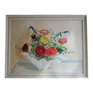 Vintage Flowers in Clamshell Painting For Sale