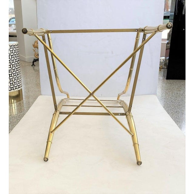 """Late 20th Century Mid-Century Modern Weiman/Warren Lloyd for Mastercraft """"Imperial"""" Brass Dining Chairs With White Ultrasuede Upholstery - a Set of 10 For Sale - Image 5 of 13"""