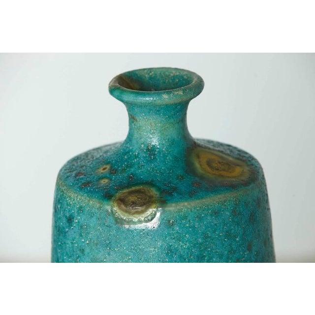 1950s Guido Gambone - Large Italian Modern Turquoise Blue Ceramic Vase For Sale - Image 5 of 8
