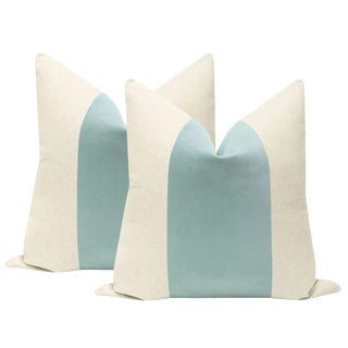 "22"" Sea Blue Velvet Panel & Linen Pillows - a Pair For Sale"
