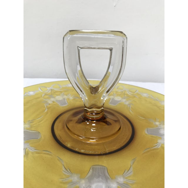 Depression Glass Yellow Flashed Etched Center Handle Sandwich Tray For Sale - Image 4 of 6