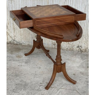 20th Century Regency Style Oval Walnut Chess Game Table With Two Drawers Preview