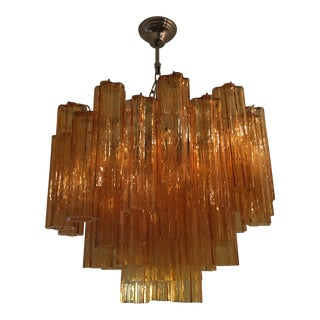 "Contemporary Murano Glass ""Tronchi"" Chandelier Rare Amber Color For Sale"